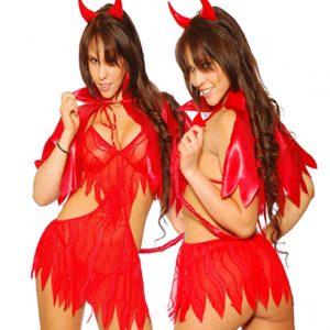 Disfraz De Diabla En Erotico Vestido Rojo