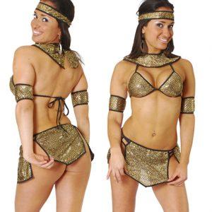 Disfraz De Egipcia En Mini Conjunto Dorado