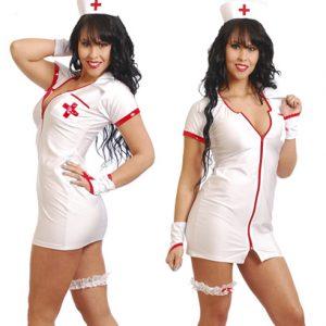 Disfraz De Enfermera En Elegante Vestido Blanco