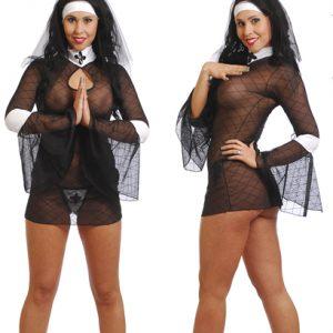 Disfraz De Monja En Vestido Negro Transparente