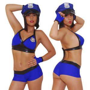 Disfraz De Policia En Conjunto Ajustado Azul