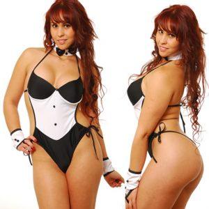 Disfraz De Sexy Moza En Body Blanco y Negro