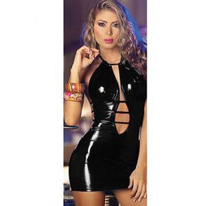 Vestido De Vinilo Negro Con Sexy Escote