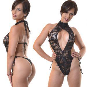 Body Sexy Escote En Encaje Negro