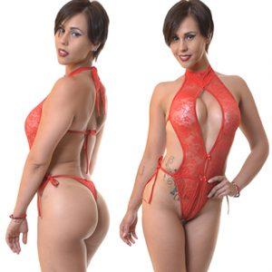 Body Sexy Escote En Encaje Rojo