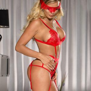 Body Exótico Rojo Con Portaligas Y Cegadera