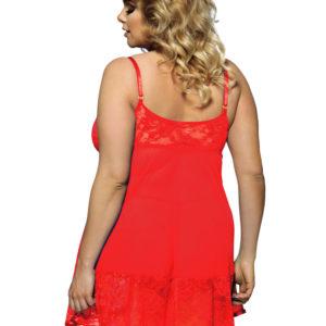 Babydoll XXL En Rojo Sexys Aplicaciones De Encaje