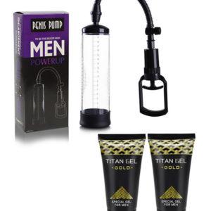 Bomba De Vacío Penis Pump + 2 Titan Gel Gold