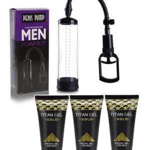 Bomba De Vacío Penis Pump + 3 Titan Gel Gold